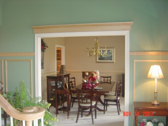 Foyer into Dining Room - Door pediment & chair rail and shadow ...