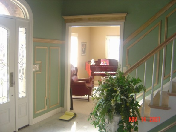 Foyer With Chair Rail : Foyer shadow boxes door pediment before final paint